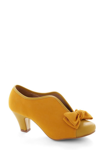 Bow Other Way Bootie in Gold - Mid, Faux Leather, Yellow, Solid, Bows, Wedding, Daytime Party, Good, Variation, Spring
