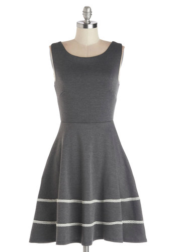Fun-day Best Dress in Grey - Knit, Grey, White, Crochet, Pockets, Casual, Tank top (2 thick straps), Better, Scoop, Variation, Work, Mid-length, Fit & Flare