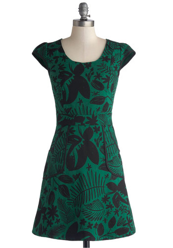 Westward Journey Dress in Forest by Nooworks - Cotton, Woven, Mid-length, Green, Black, Floral, Pockets, Party, A-line, Cap Sleeves, Better, Scoop, Trim, Daytime Party, Variation