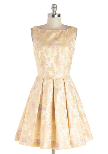 Classic Stunner Dress in Floral by BB Dakota - Woven, Gold, Tan / Cream, Floral, Pleats, Wedding, Bridesmaid, Sleeveless, Better, Boat, Exclusives, Pastel, Prom, Party, Fit & Flare, Mid-length, Variation, Spring