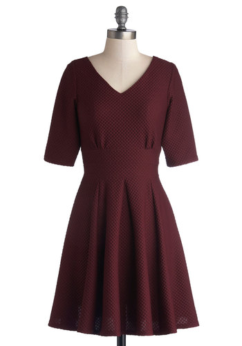 Befit for a Fete Dress - Woven, Mid-length, Red, Solid, Exposed zipper, Pleats, Casual, A-line, Short Sleeves, Better, V Neck
