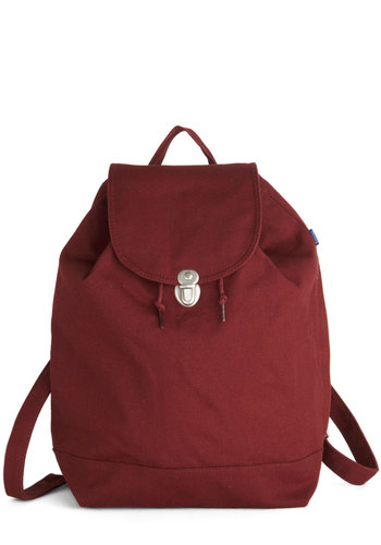 Park Bench Backpack in Crimson by Baggu - Red, Solid, Casual, Scholastic/Collegiate, Minimal, Good, Variation, Basic, Cotton, Woven
