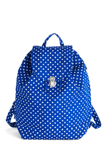 Park Bench Backpack in Dots - Blue, White, Polka Dots, Scholastic/Collegiate, Good, Variation, Woven, Travel