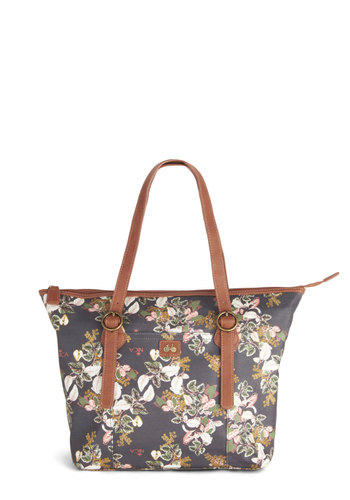 Garden Party Getaway Bag by Nica - Blue, Tan / Cream, Floral, Buckles, Work, Better, Faux Leather, Multi, Travel, Spring