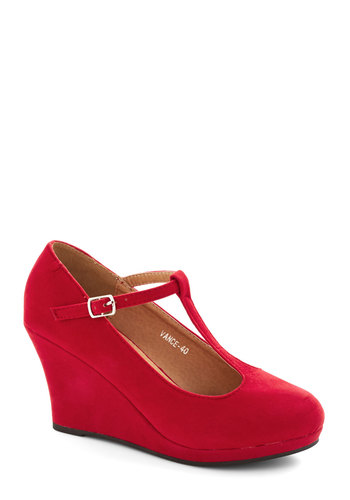Dashing to Dinner Wedge in Ruby - Red, Solid, Wedding, Party, Holiday Party, Good, Wedge, T-Strap, Mid, Faux Leather, Variation