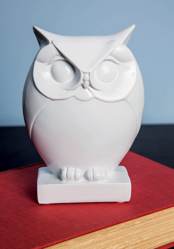 Owl Along the Mantel Figurine - White, Owls, Good, Wedding