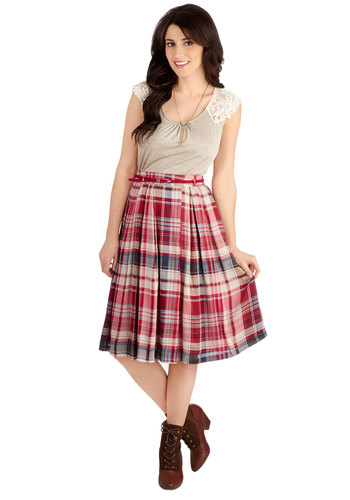 Man Oh Mandolin Skirt - Woven, Long, Red, Plaid, Belted, Casual, Vintage Inspired, Scholastic/Collegiate, High Waist, Midi, Good, Red, Pleats, A-line