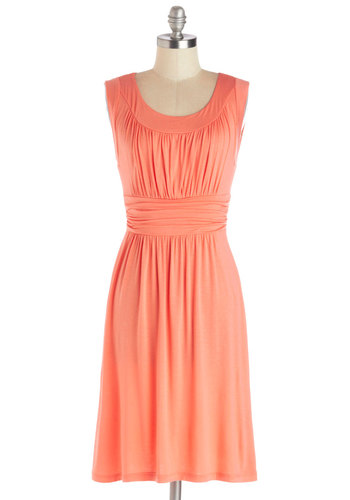 I Love Your Dress in Coral - Jersey, Knit, Coral, Solid, Ruching, Casual, A-line, Sleeveless, Good, Scoop, Variation, Work, Mid-length