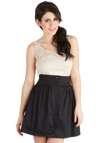 Take the A-line Skirt - Cotton, Short, Black, Solid, Buttons, Girls Night Out, A-line, Basic, Black