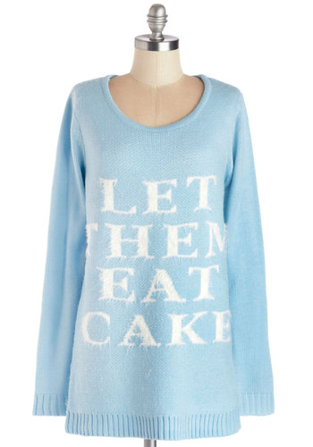 Reasonable Request Sweater by Mink Pink - Blue, White, Quirky, Long Sleeve, Knit, Long, Casual, Sayings, Scoop, Blue, Long Sleeve