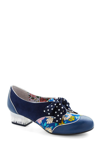 Clear Path Heel in Blue by Poetic License - Blue, Multi, Polka Dots, Floral, Trim, Daytime Party, Luxe, Best, Lace Up, Chunky heel, Low, Leather, Suede, Variation