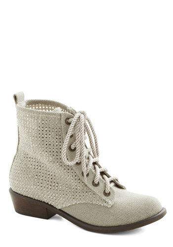 Enduring Encounter Boot - Cutout, Low, Good, Lace Up, Sheer, Woven, Cream, Solid
