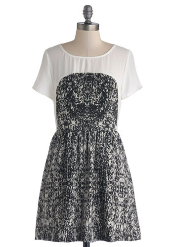 Cover Band Beauty Dress - Chiffon, Sheer, Woven, Short, Black, White, Casual, A-line, Short Sleeves, Better, Scoop, Print