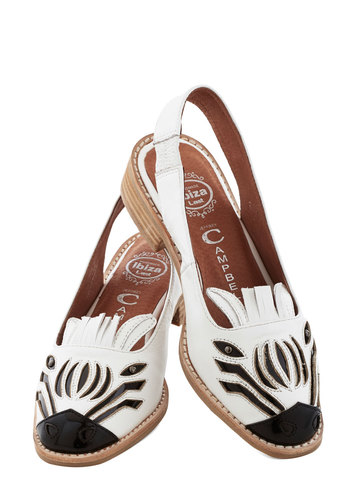 Zebra Fever Flat by Jeffrey Campbell - Low, Leather, Print with Animals, Quirky, Critters, Best, Slingback, Black, White