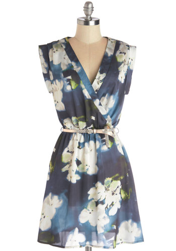Soft Focus Florals Dress by Louche - Woven, Mid-length, Sheer, Floral, Belted, Casual, A-line, Sleeveless, Better, V Neck, Blue, Green, Tan / Cream
