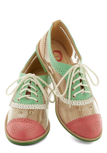Clear Agenda Flat - Flat, Faux Leather, White, Solid, Menswear Inspired, Good, Lace Up, Pastel, Pink, Mint, Casual, Statement