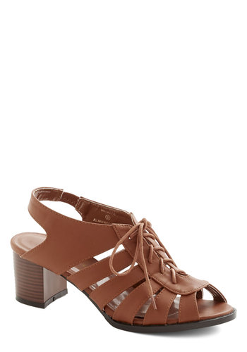 Terrace Dinner Heel - Mid, Faux Leather, Tan, Solid, Cutout, Good, Chunky heel, Daytime Party, Lace Up