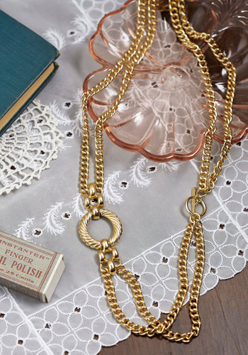 Accessorize and Shine New Heirloom Necklace - Solid, Chain, Gold, Good, Vintage Inspired