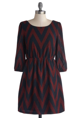 Knowing Every Angle Dress - Red, Blue, Chevron, Pockets, Casual, A-line, 3/4 Sleeve, Good, Scoop, Knit, Short
