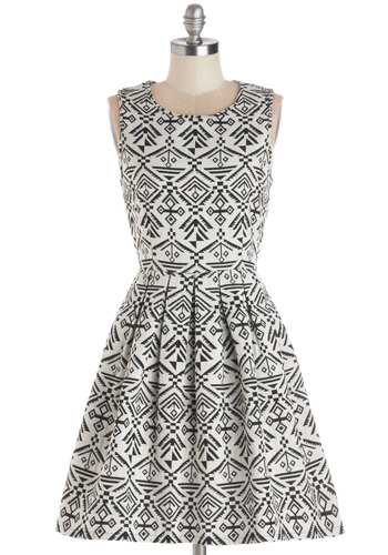 Spontaneous Saturday Dress - Woven, Mid-length, Black, Print, Pleats, Party, Fit & Flare, Sleeveless, Good, White
