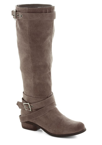 Ambitious Adventurer Boot - Low, Leather, Suede, Grey, Solid, Buckles, Better, Festival, Boho