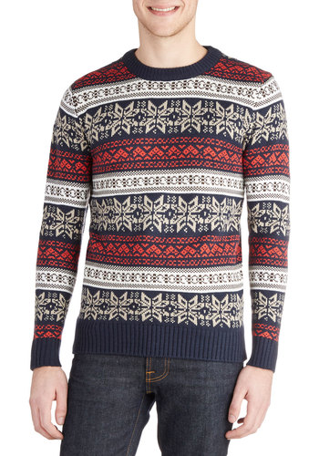 The More You Snow Men's Sweater - Knit, Mid-length, Multi, Novelty Print, Holiday, Long Sleeve, Winter, Better, Crew, Multi, Long Sleeve, Red, Blue, Tan / Cream, White, Casual
