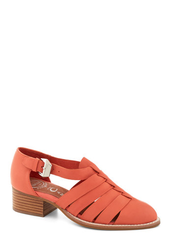 Tea for You Heel by Jeffrey Campbell - Low, Leather, Orange, Solid, Buckles, Cutout, Best, Chunky heel, Woven