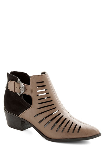 All or Nothing Bootie - Mid, Leather, Suede, Black, Solid, Buckles, Cutout, Better, Tan