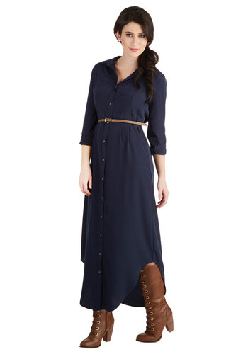 Questions for the Stylist Dress - Woven, Long, Blue, Solid, Buttons, Belted, Casual, Shirt Dress, 3/4 Sleeve, Better, Collared, Pockets