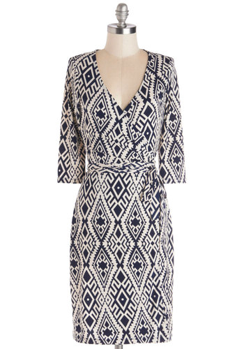 Wrap Party Dress - Knit, Mid-length, Blue, White, Print, Belted, Ruching, Casual, Sheath / Shift, 3/4 Sleeve, Good, V Neck, Work, Wrap