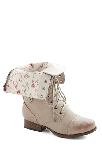 Naturally Timeless Boot - Faux Leather, Low, Cream, Solid, Floral, Military, Good, Lace Up, Casual, Festival