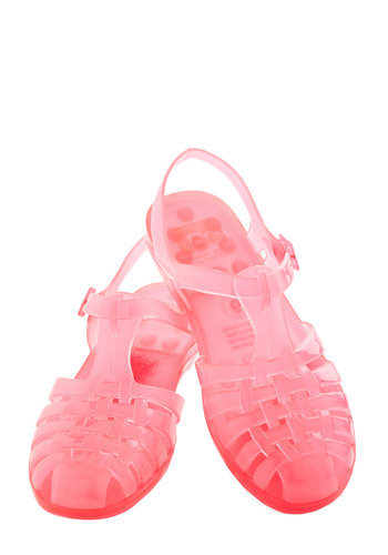 Totally Jelly Sandal in Bright Pink by BC Footwear - Low, Pink, Solid, 90s, Summer, Good, Cutout, Beach/Resort, Vintage Inspired, 80s, Variation