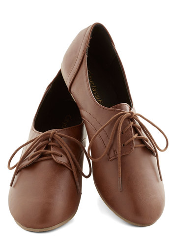 Almond Bark Flat in Chocolate - Solid, Menswear Inspired, Lace Up, Flat, Faux Leather, Brown, Top Rated