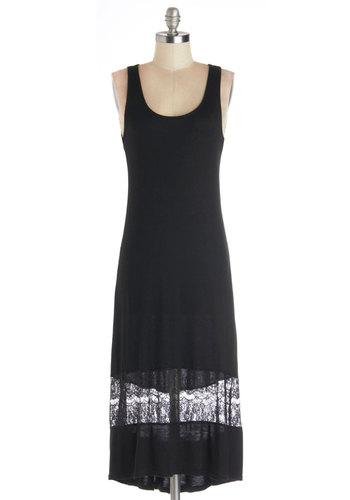 Acoustic Afternoon Dress - Sheer, Knit, Long, Black, Solid, Lace, Maxi, Tank top (2 thick straps), Good, Scoop, Casual