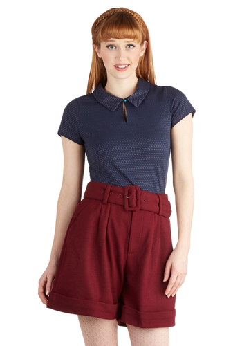 Skillful Style Shorts by Kling - Solid, Buttons, Belted, Woven, Red, Pockets, Casual, Vintage Inspired, Work, Menswear Inspired, Scholastic/Collegiate, High Waist, Better, Ultra High Rise, Red, Non-Denim, Short