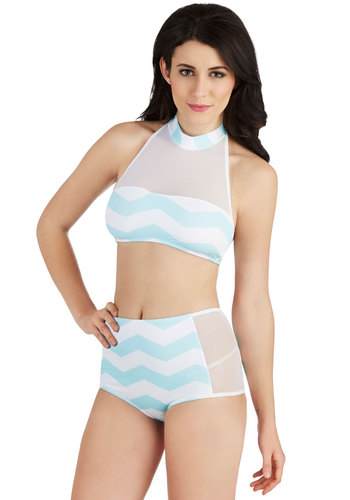 Sea to Shining Seafoam Two-Piece Swimsuit - Blue, White, Chevron, Beach/Resort, Vintage Inspired, 60s, Halter, Summer