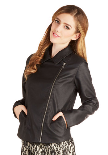 Right from the Jumpstart Jacket by Jack by BB Dakota - Faux Leather, 2, Black, Solid, Exposed zipper, Pockets, Urban, Long Sleeve, Spring, Winter, Mid-length
