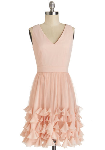 In Due Corsage Dress - Woven, Mid-length, Pink, Solid, Ruffles, Prom, Wedding, Cocktail, Bridesmaid, A-line, Sleeveless, Better, V Neck, Fairytale, Pastel