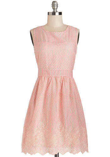 Likability Factor Dress by Tulle Clothing - Cotton, Woven, Pink, White, Polka Dots, Embroidery, A-line, Sleeveless, Better, Pastel, Valentine's, Graduation, Daytime Party, Mid-length