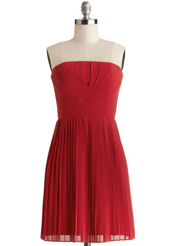 Art Deco Dreams Dress - Chiffon, Woven, Short, Red, Solid, Pleats, Wedding, Cocktail, Bridesmaid, A-line, Strapless, Better, Vintage Inspired, 20s