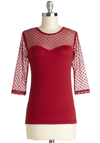 Lovable at First Sight Top in Red - Mid-length, Jersey, Sheer, Knit, Red, Solid, 3/4 Sleeve, Valentine's, Red, 3/4 Sleeve