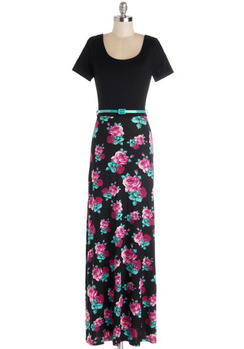 Fleur the Win Dress - Knit, Long, Black, Floral, Belted, Casual, Maxi, Short Sleeves, Good, Scoop, Blue, Pink
