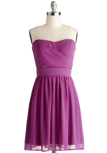 Bring in the Bold Dress - Purple, Solid, Party, A-line, Strapless, Good, Sweetheart, Chiffon, Woven, Wedding, Bridesmaid, Mid-length