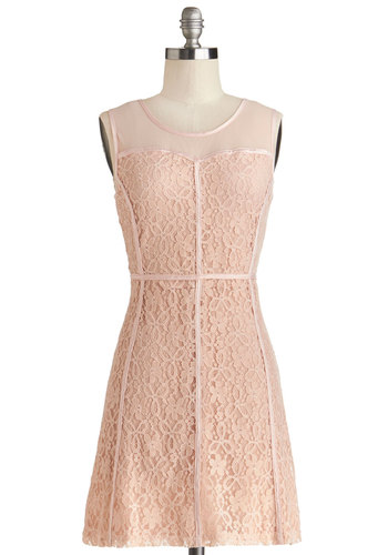 Petal Panorama Dress - Sheer, Knit, Woven, Short, Pink, Solid, Trim, Daytime Party, Bridesmaid, A-line, Sleeveless, Good, Scoop, Pastel, Valentine's, Spring, Wedding, Lace
