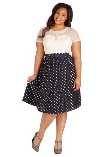 Sway for Tea Skirt in Dots - Plus Size - Blue, White, Polka Dots, Work, Daytime Party, A-line, Variation, Exclusives