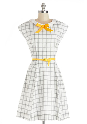 Shoreline Memories Dress by Myrtlewood - Mid-length, Woven, White, Yellow, Black, Bows, Belted, Casual, A-line, Cap Sleeves, Better, Print, Exclusives, Private Label, Spring, Top Rated