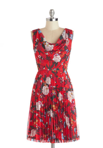 Rainy Day Rendezvous Dress by Bea & Dot - Private Label, Mid-length, Chiffon, Woven, Red, Multi, Floral, Pleats, Casual, A-line, Sleeveless, Better, Cowl, Exclusives, Spring