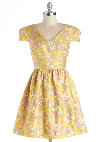 Enthralling in Love Dress - Woven, Yellow, Tan / Cream, Floral, Wedding, Party, Bridesmaid, Fit & Flare, Cap Sleeves, Better, V Neck, Spring, Short