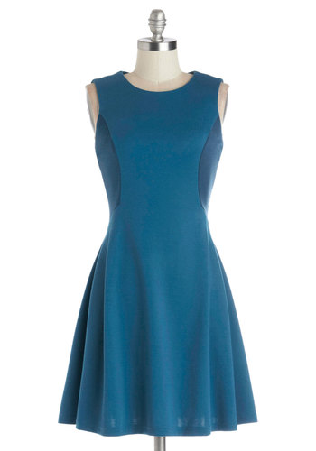 See Ya Skater Dress - Blue, Solid, Casual, A-line, Sleeveless, Good, Scoop, Knit, Mid-length, Pleats