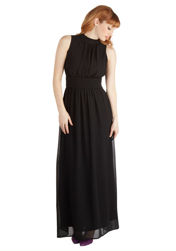 Windy City Maxi Dress in Black - Chiffon, Woven, Long, Black, Solid, Casual, Maxi, Sleeveless, Good, Exclusives, Variation, Top Rated